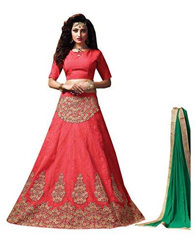PCC Womens Silk Fabric Pink Pretty Circular Lehenga Style 84063