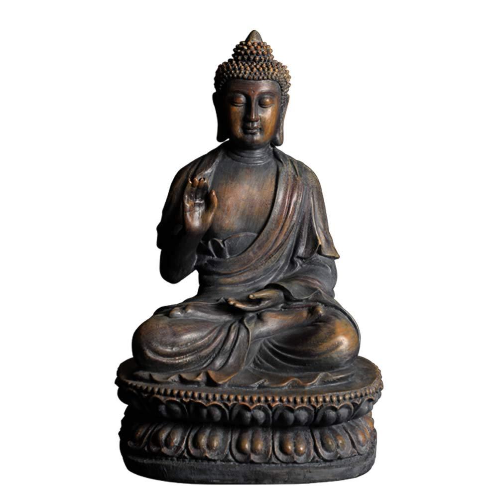 ARAIDECOR Buddha Sculpture Decor for Home & Outdoor Garden Statue - 15 x 8.7 x 10.2 Inches