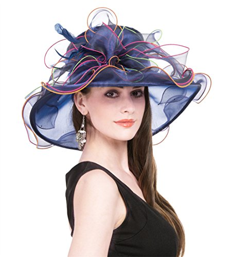 SAFERIN Women's Organza Church Kentucky Derby Cap British Tea Party Wedding Hat (Navy Colorful)]()