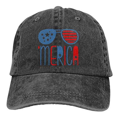 DANDAN SHOP States Aviator Sunglasses American Flag Fashion Print Denim Cotton Adjustable Hat