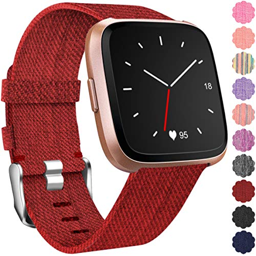 Maledan Replacement for Fitbit Versa Bands, Breathable Woven Replacement Band Strap for Fitbit Versa Smart Fitness Watch, Large, Red