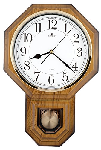 Traditional Schoolhouse Easy to Read Pendulum Plastic Wall Clock Chimes Every Hour With Westminster Melody Made in Taiwan, 4AA Batteries Included (PP0258-JSW Light Wood Grain)