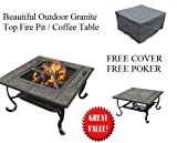 Outdoor Granite Firepit Table Top / Coffee Table / FREE COVER & POKER