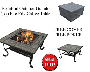 Outdoor Granite Firepit Table Top Coffee Table Free Cover Poker Fire Pits