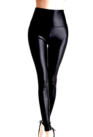 f9d927f873a19f Ladies High Waisted Faux Leather Wet Look Shiny Leggings Pants Stretch Leggings  Tights Black XS