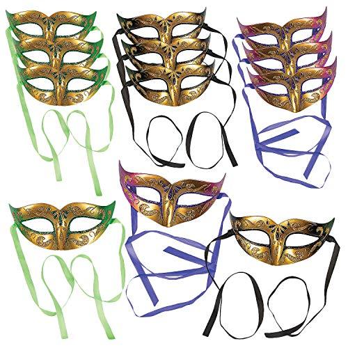Gold Masquerade Ball Masks - Set of 12]()