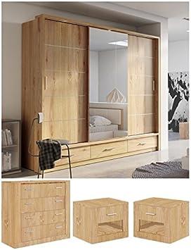 Marca Nuevo Moderno Juego de Muebles de Dormitorio Arti 1 Armario de Puertas correderas 250 cm, Pecho de cajones, 2 x mesilla de Noche armarios en Roble Shetland se Vende por Arthauss: