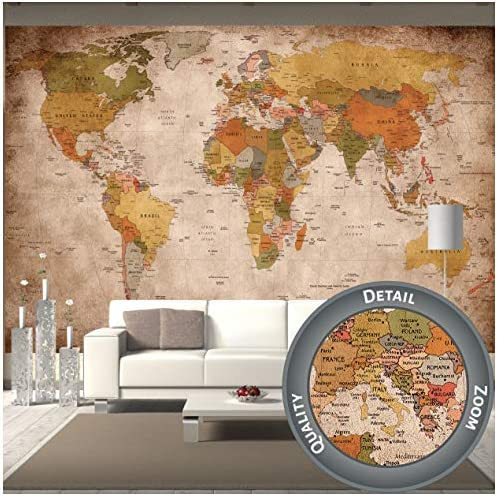 GREAT ART Mural de Pared – Retro Mapa del Mundo – Estilo Usado ...