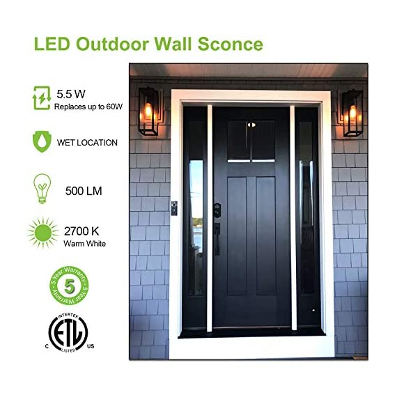 Hykolity Outdoor Wall Lantern with ST19 LED Bulb,2700K,60W Equivalent, Matte Black Wall Light Fixtures, Architectural Wall Sconce with Clear Glass Shade for Entryway, Porch, Doorway, ETL Listed,2 Pack - ✔ WONDERFUL AMBIENT LIGHTING - This wall sconce lighting is decorative wall-mounted fixture that provides a beautiful light for entryway, doorway, foyer, corridor, balcony, patio and porch. ✔ OUTDOOR WEATHER RESISTANT - Our wall sconces with heavy-duty rugged metal construction and clear glass panels, ideal for any outdoor environment. ✔ ONLY 3 STEP INSTALLATION - Attach the cross bar to the junction box, connect the wires and then fasten this wall light to the cross bar. - patio, outdoor-lights, outdoor-decor - 51%2BylBSs3tL. SS570  -