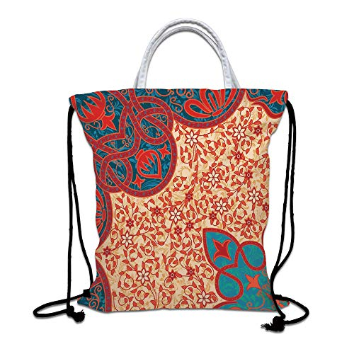Antique Drawstring Backpack Bag,Floral Arabesque Motifs with Ancient Antique Traditional Cultural Elements Lightweight Sports Gym Bag for Women Men Children,Red Yellow Blue from SoSung