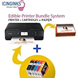 Canon Edible Printer Bundle Comes with Refillable Edible Cartridges and 20 Wafer Sheets,Canon Pixma TS6020 (Wireless+Scanner) , Best Edible Image Printer, Edible Printer For Cakes