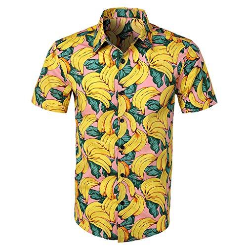 (Men's Hawaiian Shirt Button Down Party Casual Holiday Camp Beach Shortsleeve Tee (Yellow, L) )