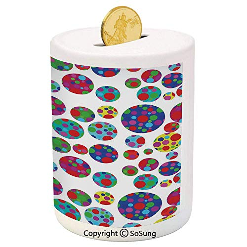 SoSung Colorful Ceramic Piggy Bank,Colored Big and Little Dotted Dots Repeating Pattern Funky Graphic Illustration 3D Printed Ceramic Coin Bank Money Box for Kids & Adults,Multicolor