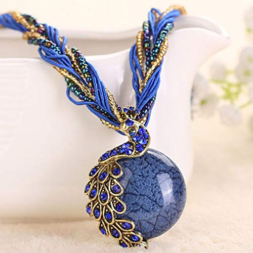 (GUAngqi Women's Vintage Bohemian Style Phoenix Peacock Crystal Opal Pendant Necklace,Royal Blue)