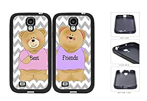 Best Friends Teddy Bear Chevron Set Silicone Cell Phone Case Samsung Galaxy S4 SIV I9500