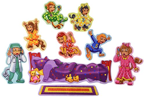 Little Folk Visuals Five Monkeys Jumping on the Bed Precut Flannel/Felt Board Figures, 9 Pieces Set]()
