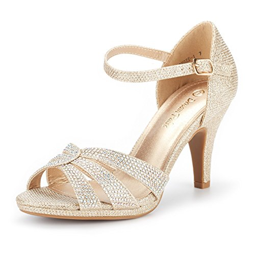Chic 4 1/2 Inch Stiletto Heel - DREAM PAIRS Women's Amore_1 Gold Glitter Fashion Stilettos Open Toe Pump Heel Sandals Size 8.5 B(M) US
