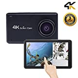 Sport Camera Sport Video Touch Screen 1080P HD 4K WIFI Action Underwater Cam with 170 Wide Angle Rechargeable Battery DV Black