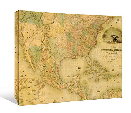 JP London Vintage 1800's Historic Map of United States of America USA Gallery Wrap Heavyweight Canvas Art Wall Decor, 1.5' High by 2' Wide