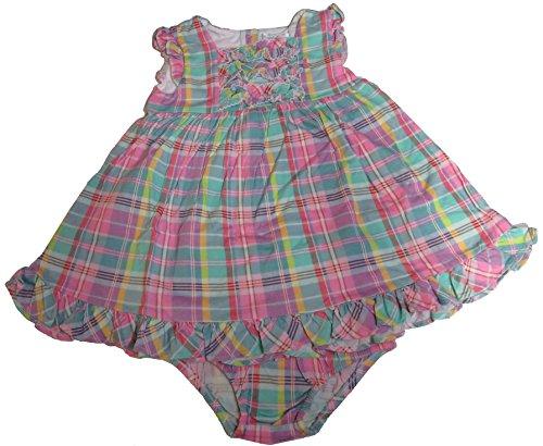 Ralph Lauren Infant Girls 2 Piece Plaid Cotton Dress Pink Multi, 18 Months