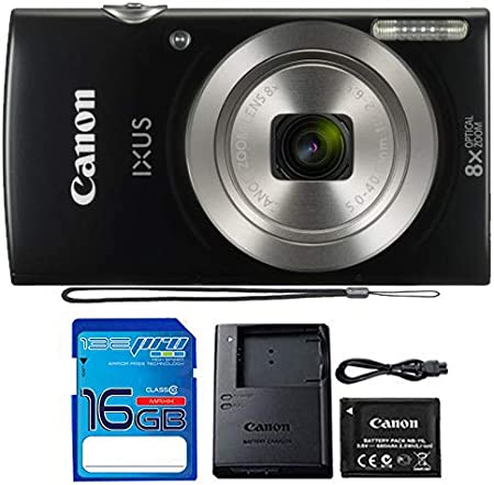 Canon IXUS 185 / ELPH 180 Digital Camera (Black) with 16 Gb Memory Card