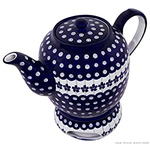 Boleslawiec Pottery Teapot 1.5 L with Warmer, Original Bunzlauer Keramik, Decor 166a