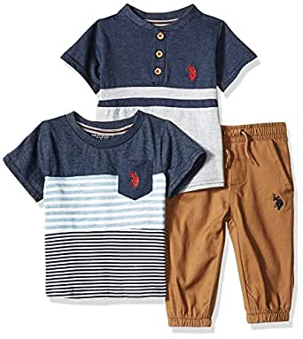 U.S. Polo Assn. Baby-Boys 8707 3 Piece Short Sleeve Pocket T-Shirt, Henley, and Jogger Pants Set - Blue - 12M