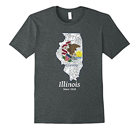 Mens Illinois Distressed Flag and Map T-shirt 3XL Dark Heather