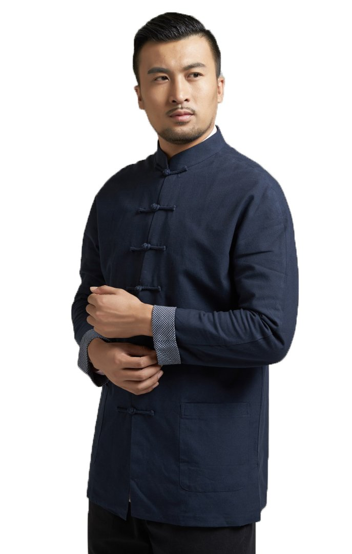 ezShe Mens Stand Collar Chinese Style Tang Suit Shirt Coat, Navy M