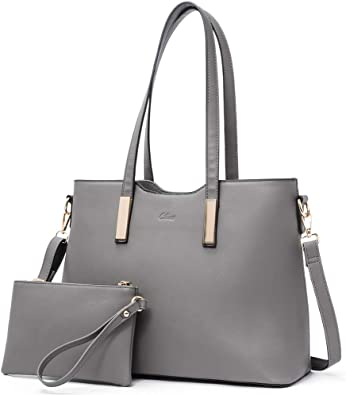 Amazon Com Purses And Handbags For Women Leather Designer Tote Large Fashion Ladies Shoulder Bags With Inner Pouch 2pcs Set Dark Grey Shoes