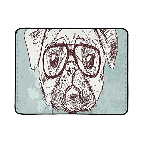ZXWXNLA Vintage Illustration of Hipster Pug Dog with Glass Pattern Portable and Foldable Blanket Mat 60x78 Inch Handy Mat for Camping Picnic Beach Indoor Outdoor Travel