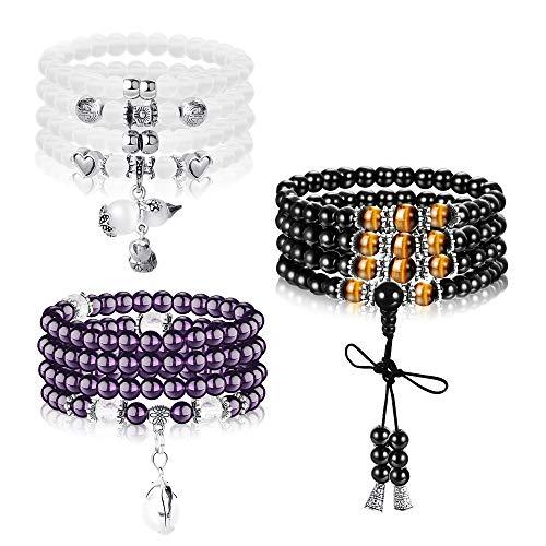 Finrezio 3 PCS Mens Womens Stone Beaded Necklace Bracelets 108 Beads Buddhist Strand Prayer Beads Sandalwood Link Wrist