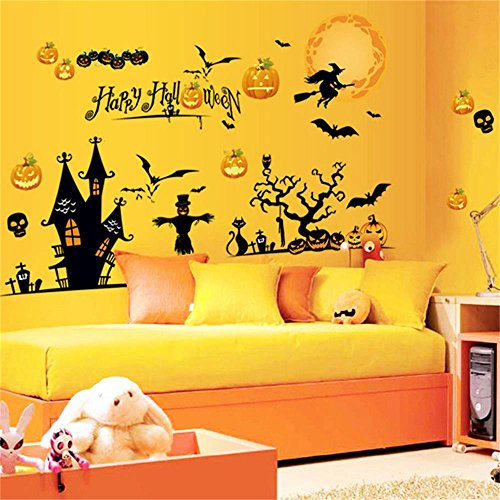 Happy Halloween Pumpkin Trick Or Treat Value Party Scene Wall Decorating Kit Bedroom Home Window Sticker Mural for Baby Kids Room (Design 3) (Modern Family Halloween Scene)