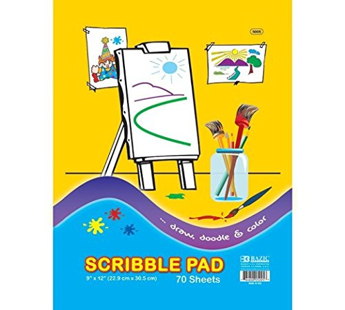 UPC 053799133053, 3 Pk, BAZIC Scribble Pad, 9 X 12 Inches - 70 Sheets Per Pack