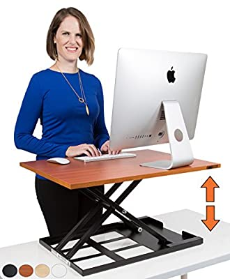 X-Elite - Stand Steady Standing Desk | X-Elite Pro Version, Instantly Convert Any Desk into a Sit / Stand up Desk, Height-Adjustable, Fully Assembled Desk Converter (Cherry)