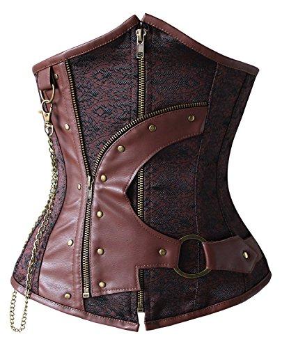 (Charmian Women's 12 Steel Boned Waist Training Cincher Gothic Steampunk Old Fashion Underbust Corset Top with Zipper Brown)