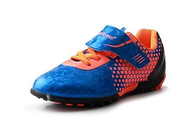 d3e1b96be33 T B Boys Indoor Soccer Shoes Girls Football Futsal Shoes Blue Orange  76115-Lan-