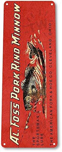 TIN SIGN B800 Al Foss Pork Rind Minnow Lure Fishing Bait Retro Box Tackle Fish Metal Decor ()