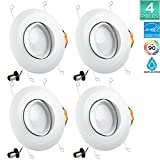 Pack of 4 Luxrite 5/6 Inch LED Gimbal Downlight, 15W (120W Equivalent), 5000K (Bright White), 1060 Lumens, Adjustable LED Downlight, ENERGY STAR, Dimmable, ETL Listed