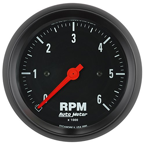 AutoMeter 2695 Z-Series In-Dash Electric Tachometer 3-3/8 in. Black Dial Face Fluorescent Red Pointer White Incandescent Lighting Electric Air-Core 0-6000 RPM Z-Series In-Dash Electric Tachometer
