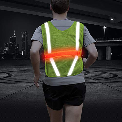 Reflective Vest Running Gear, Highly Breathable Mesh Vest with Pocket, One Size Fit All, Perfect for Running, Jogging, Walking, Cycling, Motorcycle Riding and More (Green, Horizontal)