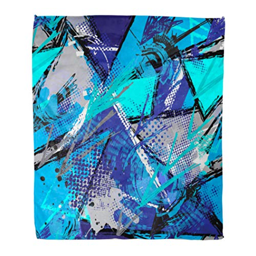 Emvency Throw Blanket Warm Cozy Print Flannel Geometric Pattern for Girls Boys Sport Urban Modern Curved Squares Shape Spray Comfortable Soft for Bed Sofa and Couch 50x60 Inches ()