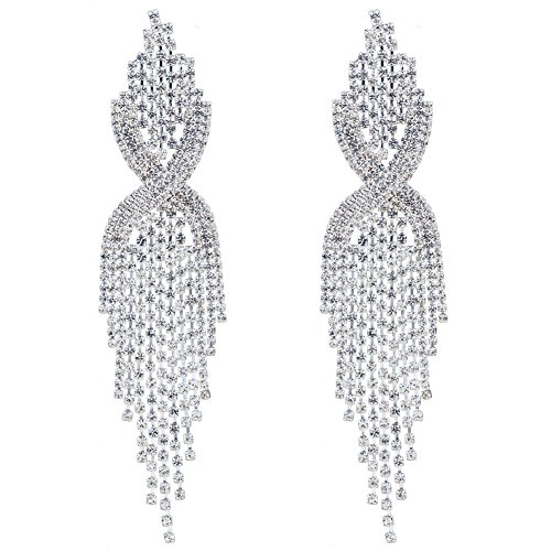CHRAN Silver Rhinestone Long Tassels Dangle Chandelier Earrings Jewelry Size 3.5