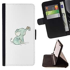 "For Sony Xperia Z5 (5.2 Inch) / Xperia Z5 Dual (Not for Z5 Premium 5.5 Inch),S-type Elefante dulce del bebé azul blanco azul"" - Dibujo PU billetera de cuero Funda Case Caso de la piel de la bolsa protectora"