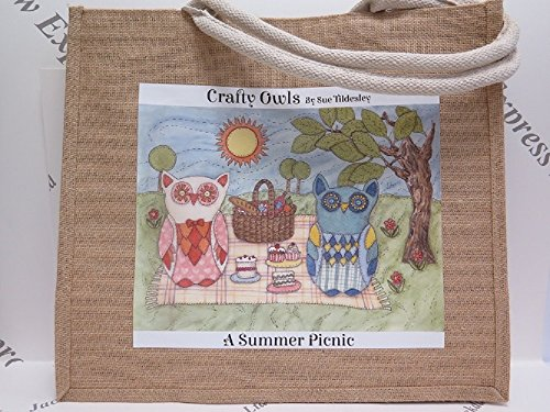to Jackdaw 3 choose New Designs Medium Crafty Owls Picnic Bag Express from Large or Large Jute Large Hessian Range in Hatchling Summer rxq4OwPr