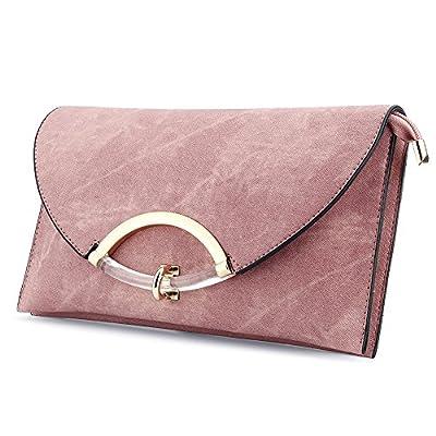 Women's Leather Evening Clutch Bag Shoulder Handbag Messenger Envelope Bags with Adjustable Strap