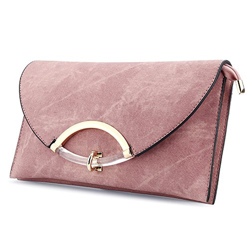 Women's Leather Evening Clutch Bag Shoulder Handbag Messenger Envelope Bags with Adjustable Strap