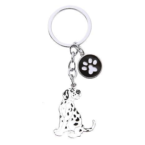 Scrox 1x Llavero Moda Forma Creativa del Linda Perro Mascota Cadena de Clave Bolsos Colgante Key Holder Mujer Regalo para Decoración (Dálmata)