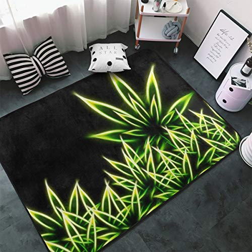 """MODREACH Area Rugs Shag Rug Cozy Soft Carpet Accent Home Decor for Open Spaces and Living Room Bedroom (60""""x39"""" Rectangle, Psychedelic Green Marijuana Weed Leaf Black) from MODREACH"""