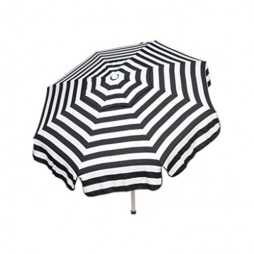Heininger 1341 DestinationGear Italian Black and White 6' Acrylic Striped Patio Pole Umbrella